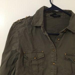 Studded army green jacket/long sleeve shirt